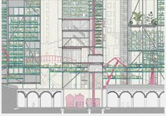 Master's degree in architecture - Agricultural Micro_city - Eduardo Navarro - ETSAM (Madrid) - Section Zoom