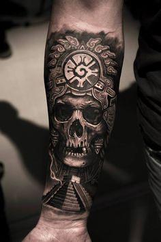 Mayan Skull King Tattoo by Mumia MBtattoos