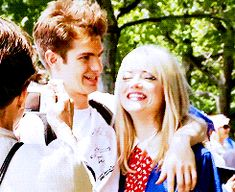 Andrew Garfield, Emma Stone, and Sally Field filming the graduation scene for The Amazing Spider-Man 2