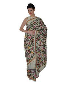 Cream Pure Silk Hand Embroidered Kantha Saree