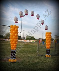 Baseball Helium Balloon Arch floats between two Baseball Bat Balloon Columns Softball Party, Baseball Birthday, Baseball Party, Baseball Kids, Baseball Season, Boy Birthday, Balloon Columns, Balloon Arch, Opening Day Baseball