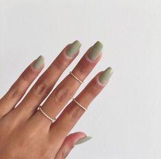 Green Nail Designs, Nagellack Design, Nail Polish, Gray Nails, Fire Nails, Funky Nails, Best Acrylic Nails, Acrylic Nails Green, Green Nail Art
