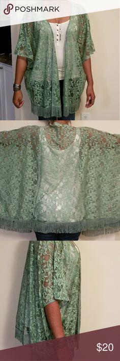 Fringed Lace Kimono Fringed Lace Kimono. Sage green. 2 sizes s/m and m/l Maniacally Beautiful Other