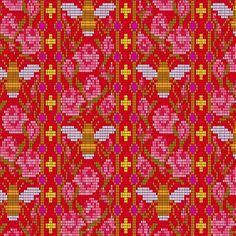 Handiwork by Alison Glass is a neat collection of unique crafting prints. Bead Work is a great fabric with bees and flowers on a red background. Use is as a focal print on a quilt or home decor. Novelty print for a great borders. Pink Fabric, Cotton Fabric, Woven Cotton, Andover Fabrics, Quilting Thread, Novelty Print, Red Background, Quilt Top, Dressmaking