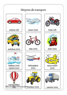 Means of transport exercise sheet - Free ESL projectable worksheets made by teachers Basic French Words, How To Speak French, Learn French, French Flashcards, French Worksheets, French Teaching Resources, Teaching French, French Language Lessons, French Lessons