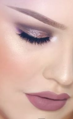 """Sparkly Taupe and Purple Smokey Eyes with Greige Lips Look Tutorial Video @stilacosmetics Eyes are the Window Palette in """"Mind"""" with @stilacosmetics """"Metallic Rose Quartz"""" and @anastasiabeverlyhills """"Pink Champagne"""" over top. On the lower lashline I used purple shadows from the @morphebrushes 35S palette. @makeupgeekcosmetics """"Whimsical"""" foiled eyeshadow for inner corner. Lips: Ultra matte lipgloss in """"Trap"""" by @colourpopcosmetics mixed with @nyxcosmetics """"Natural"""" lip pencil  #makeup…"""