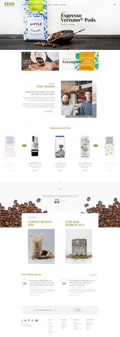 Buy SEED/Organic Shop Farm Coffee Cosmetic Handmade by Beautheme on ThemeForest. SEED is an amazing clean Wordpress template. Blog Design, Page Design, Wordpress Template, Wordpress Theme, Coffee Websites, Best Organic Coffee, How To Order Coffee, Instructional Design, Ui Web