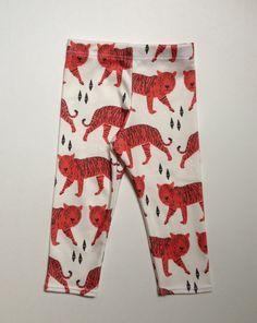 Red Tiger organic cotton leggings, modern leggings, baby leggings