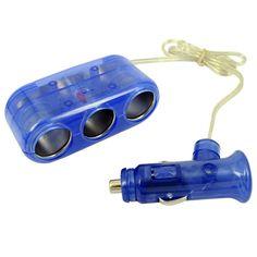 Blue 3 Way 12V Car Cigarette Socket Adapter/Splitter/Charger - http://ucables.com/product/blue-3-way-12v-car-cigarette-socket-adaptersplittercharger-2/