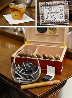 We absolutely adore the idea of surprising your hubby and guests with a custom bar featuring specialty cigars and his favorite bourbon or scotch - and it can be set up fairly simply with a few essentials.