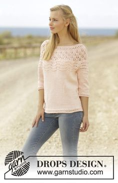 Apricot Cream jumper with lace pattern, wave pattern and round yoke by DROPS Design Free Knitting Pattern