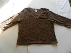 J Jill Womens Size L Shirt Blouse Brown Puffy Floral 3/4 Sleeves Gorgeous! USA