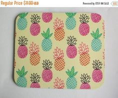 Sale  Pineapples Mouse Pad mousepad / Mat  Rectangle  by Laa766  chic / cute / preppy / computer, desk accessories / cubical, office, home decor / co-worker, student gift / patterned design / match with coasters, wrist rests / computers and peripherals / feminine touches for the office / desk decor