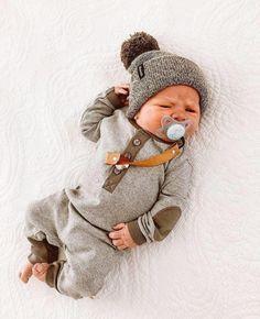Heather Olive Knit Cuff Beanie w/ Pom / Slouch Headwear Newborn Boy Clothes, Cute Baby Clothes, Baby Boy Newborn, Carters Baby, Babies Clothes, Baby Outfits, Newborn Outfits, Baby Kind, Baby Love