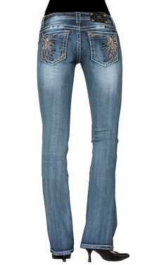 Miss Me® Women's Embroidered Floral Burst Open Pocket Boot Cut Jean $73