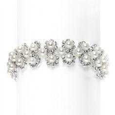 White Pearl & Silver Rhinestone Bridal Bracelet with Daisies