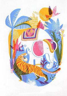 Creative Illustration, Jungle, Screenprint, and Behance image ideas & inspiration on Designspiration Art And Illustration, Illustrations Posters, Botanical Illustration, Elephant Illustration, Jungle Art, Jungle Animals, Ohh Deer, Posca Art, Art Design