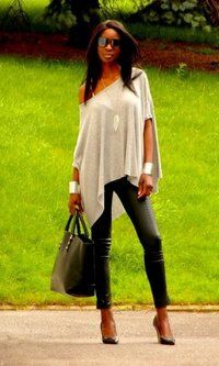 So easy ! note: long chain & leaf neckles seperates bust, and double cuffs mak this chic. bare shoulder makes it sexier. and the heels and the pleather pants ;) big tote provides balance. Zara, Primark