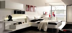 white-black-bedroom-design-ideas-images-, Love the pop of red.