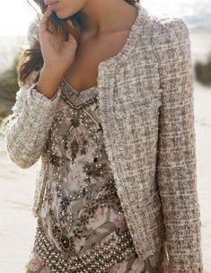 tweed - pretty look Looks Style, Looks Cool, Style Me, Classy Style, Girl Style, Chanel Fashion, Fashion Beauty, Womens Fashion, Chanel Style