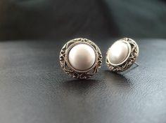 1918 Pearl Filigree Stud Wedding Earrings.