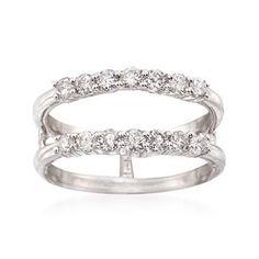 Ross-Simons - .80 ct. t.w. Diamond Jacket Wedding Ring in 14kt White Gold - #826360