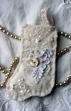 Shabby Stocking Fabric HANDMADE Christmas Ornament