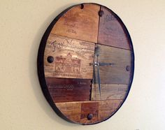 Vineyard Reclaimed Wood Barrel Wall Clock Time Piece -  Wine Art -- MADE TO ORDER on Etsy, $178.99