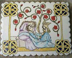 Mattonella in ceramica artistica siciliana Bluarte, Federico II di Svevia e Bianca Lancia.  Storia di Sicilia, amore e falchi.