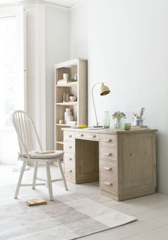 Our version of a dapper wooden desk with drawers we spotted whilst pottering around Holland. Wooden Desk, Wooden Furniture, Comfy Sofa, House On The Rock, Cool Coffee Tables, Desk With Drawers, Love Home, Home Office, Bedroom Decor