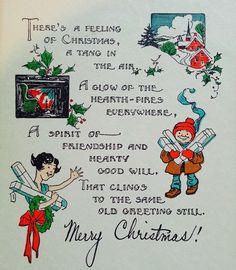 Christmas Feeling. 1930's Christmas Card. Retro Christmas Card. Vintage Christmas Card. Christmas Poem.