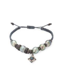 Armenta Peach Mystic Moonstone & Tahitian Pearl Bracelet with Diamonds 5v6NgB
