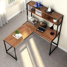 Bourdeau L-Shape Computer Desk with Hutch Bancadas – home office design layout Mesa Home Office, Best Home Office Desk, Home Office Setup, Home Office Space, Office Decor, Office Ideas, Best Desk, Office Designs, Office Workspace