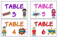 Superhero Table Numbers by Amy Firnstahl Superhero Classroom Theme, Superhero Kids, Classroom Themes, Classroom Organization, Coloring For Kids, Coloring Pages, School 2017, Spirit Shirts, Classroom Inspiration