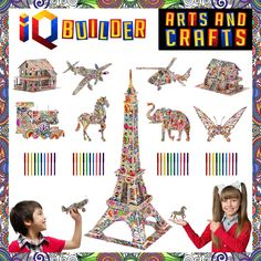 Iq Builder Fun Creative Diy Arts And Crafts Kit Toy Gift Age 8 9 10 11 12 Educational Art Building - Educational Toys Planet Arts And Crafts Kits, Craft Kits, Diy And Crafts, Crafts For Kids, Building Painting, Building Toys, Color Puzzle, 3d Puzzles, Creating A Brand