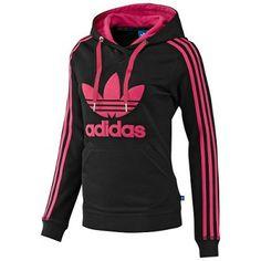 Moletom Adidas Women's Slim Hoodie Black Pink #Adidas#Moletom