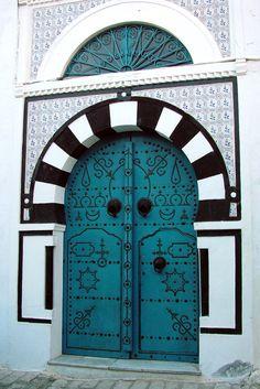 Africa | 'Smiling Moon Door'. Sidi Bou Said, Tunisia. | © Donna Corless.