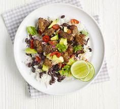 Mexican rice with chipotle pork & avocado salsa