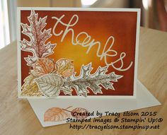 Thank you card using Vintage Leaves Stamp Set and Leaflets Framelits from Stampin' Up!  Buy them together and save 15%.  http://tracyelsom.stampinup.net