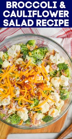 Broccoli Cauliflower Salad is easy to throw together and so delicious. This is classic side dish recipe that is loved at family functions and picnics. Summer Salad Recipes, Potluck Recipes, Side Dish Recipes, Broccoli Cauliflower Salad, Raw Broccoli, Food Dishes, Side Dishes, Dinner Dishes, How To Make Salad