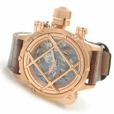 Invicta Mens Russian Diver Nautilus Swiss Mechanical Leather Strap Watch
