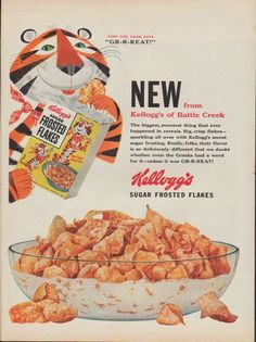 """Description: 1953 KELLOGG'S FROSTED FLAKES vintage print advertisement """"Battle Creek"""" -- Tony The Tiger, Says """"GR-R-REAT!"""" New from Kellogg's of Battle Creek ... Kellogg's Sugar Frosted Flakes -- Size: The dimensions of the full-page advertisement are approximately 10.5 inches x 14 inches (27 cm x 36 cm). Condition: This original vintage full-page advertisement is in Very Good Condition unless otherwise noted."""