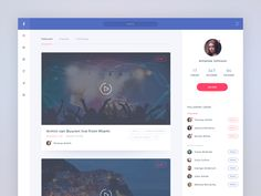 Facebook streaming application concept by Yury Smirnov for Awesomed  via Muzli design inspiration