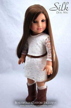 Silk Chocolate Brown Doll Wig for Custom American Girl Dolls 10 11 Like Kanani | eBay