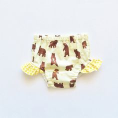 Baby Girls Bloomers Bear Honeycomb Yellow Diaper by moonroomkids