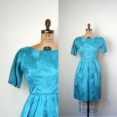 aqua brocade dress / 1950's