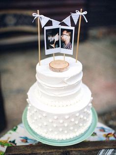 Using cute polaroids as your cake topper adds an affordable touch of personality. Image source Make a funny statement on your big day with our Shit Just Got Real Wedding Cake Topper! Guests will find this cake topper hilarious, but… Continue Reading → Diy Wedding Cake Topper, Funny Wedding Cake Toppers, Diy Cake Topper, Unique Wedding Cakes, Wedding Ideas, Wedding Planning, Wedding Pictures, Engagement Cake Toppers, Bride And Groom Cake Toppers