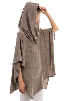 Knit Poncho in Smoke