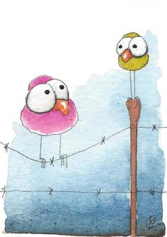 ACEO Original watercolor painting whimsical bird wire fence big boned #IllustrationArt