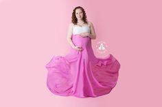 SBurritt Photography Canada Pink maternity flowy gown studio